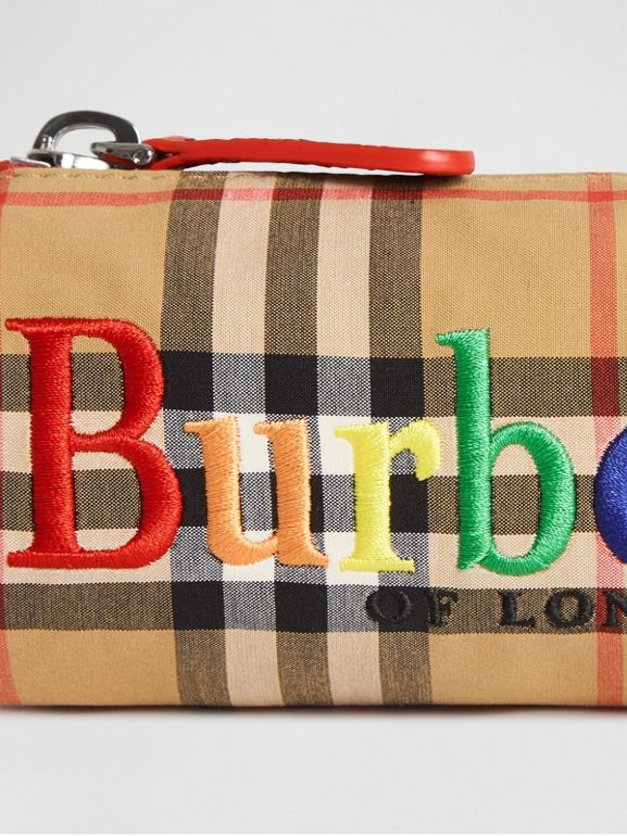 Embroidered Archive Logo Vintage Check Pencil Case in Antique Yellow | Burberry Hong Kong - cell image 1