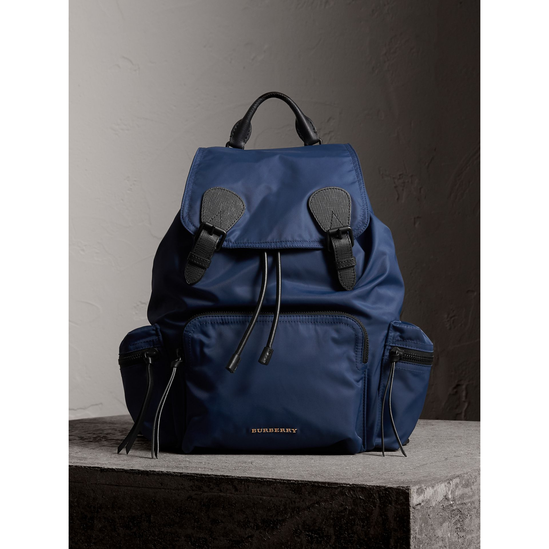 The Large Rucksack in Technical Nylon and Leather in Steel Blue - Men | Burberry Australia - gallery image 8