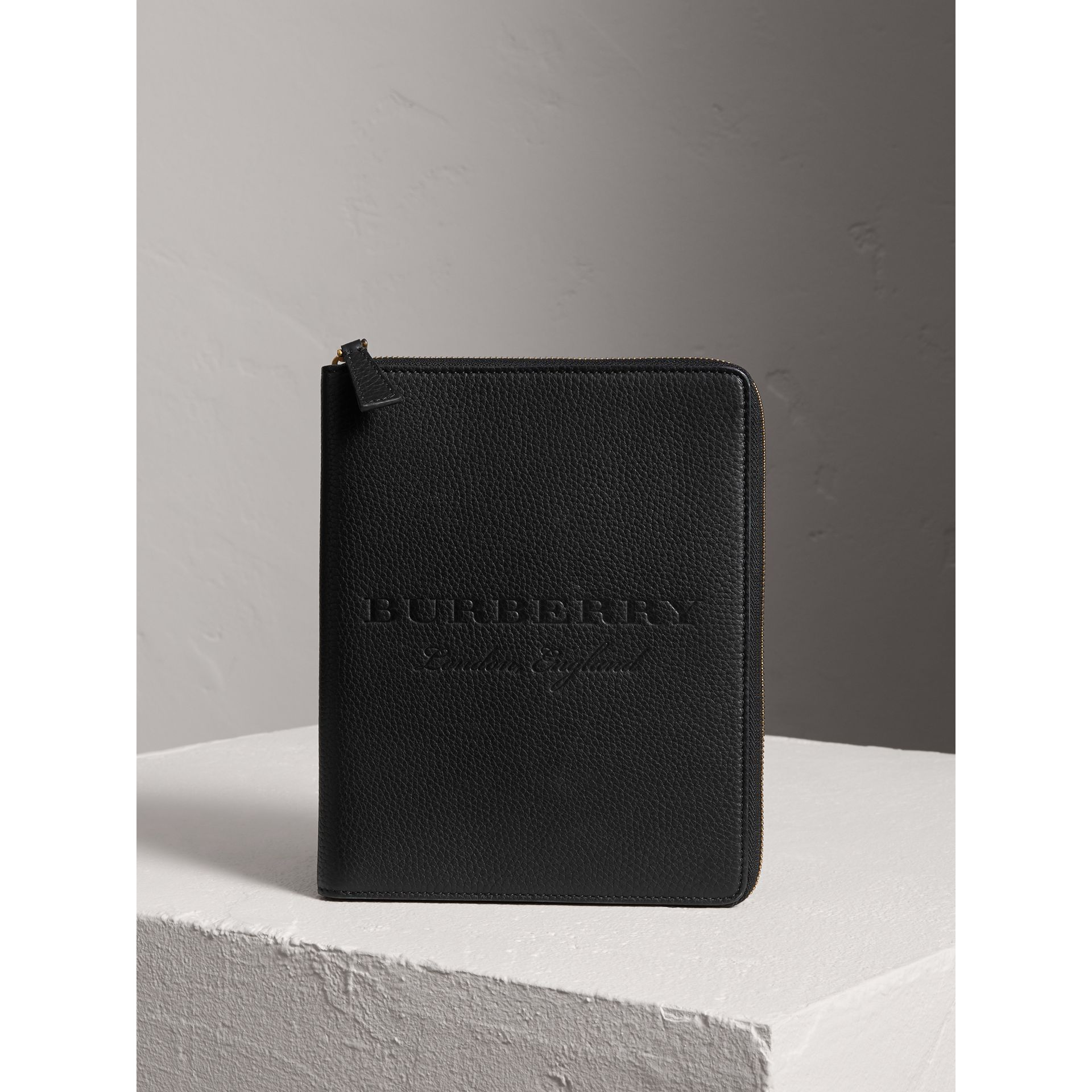 Embossed Leather Ziparound A5 Notebook Case in Black | Burberry - gallery image 4
