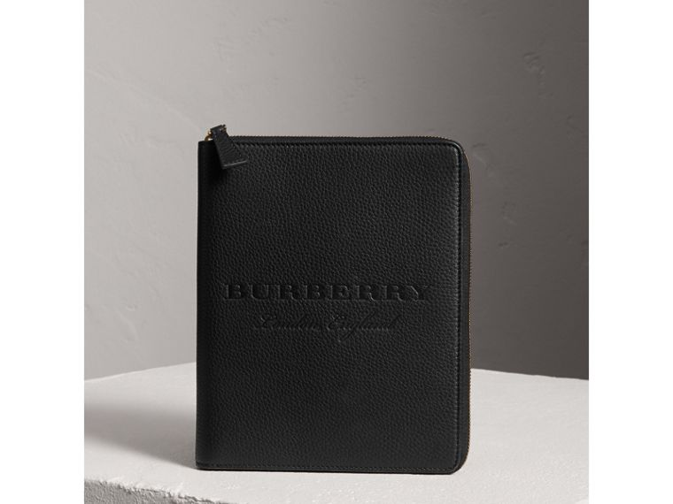Embossed Leather Ziparound A5 Notebook Case in Black | Burberry - cell image 4