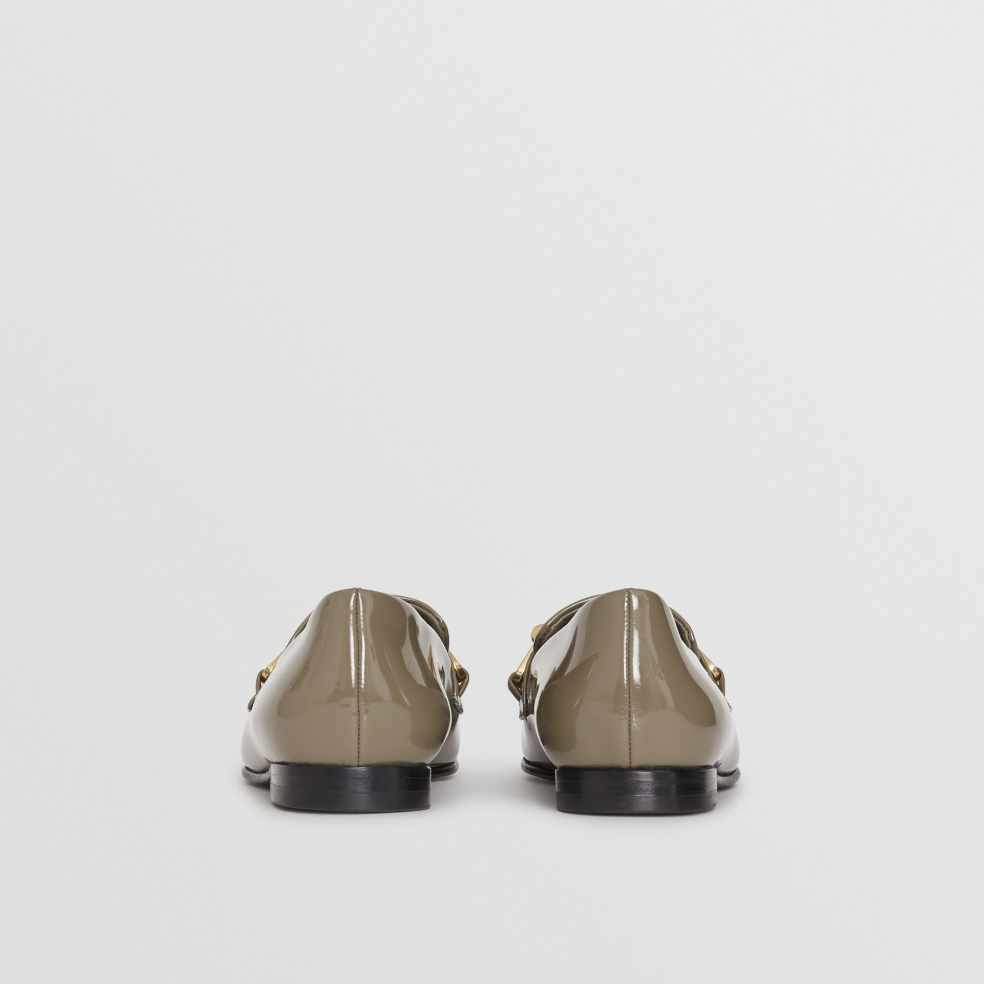 Link Detail Patent Leather Loafers in Taupe Grey - Women | Burberry - gallery image 3