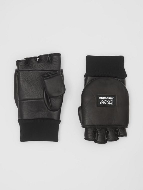 Logo Appliqué Lambskin Mittens in Black