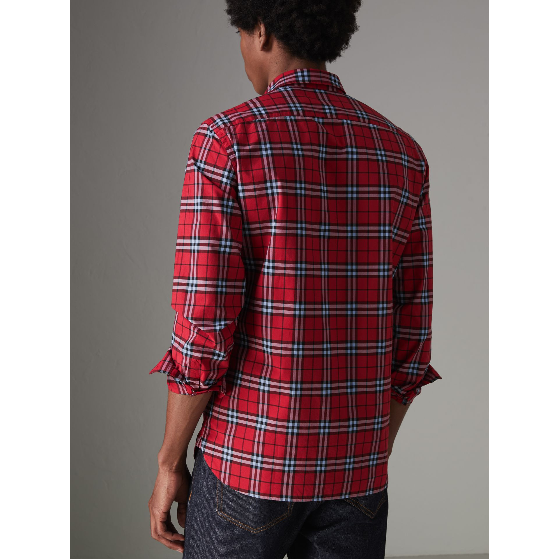 Check Cotton Shirt in Bright Red - Men | Burberry - gallery image 2