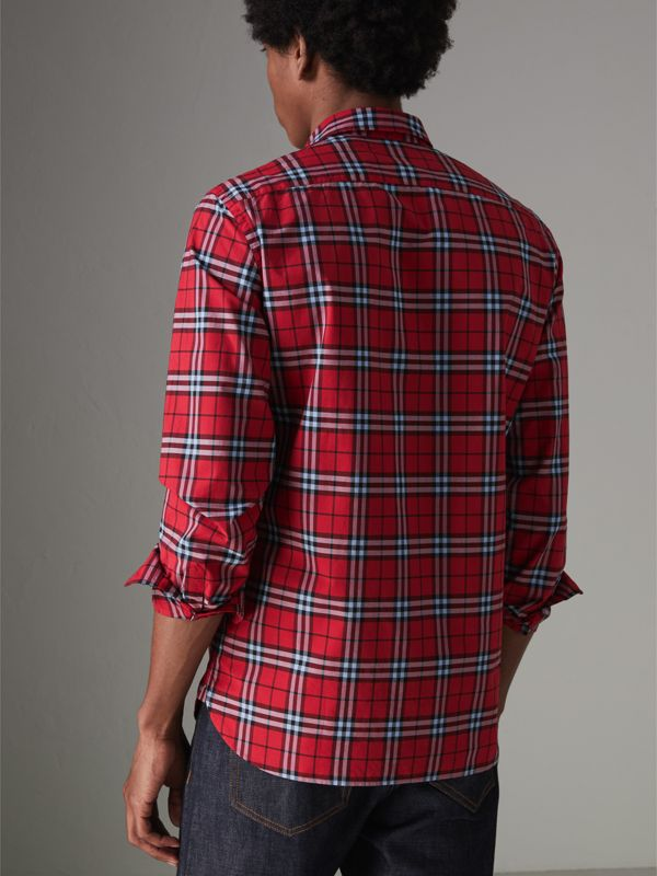 Check Cotton Shirt in Bright Red - Men | Burberry Hong Kong - cell image 2