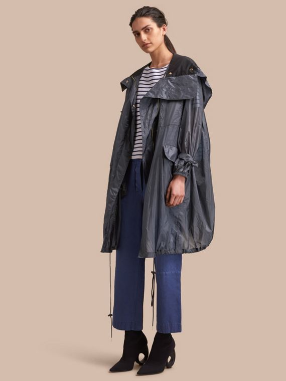 Hooded Lightweight Oversize Parka in Airforce Blue - Women | Burberry