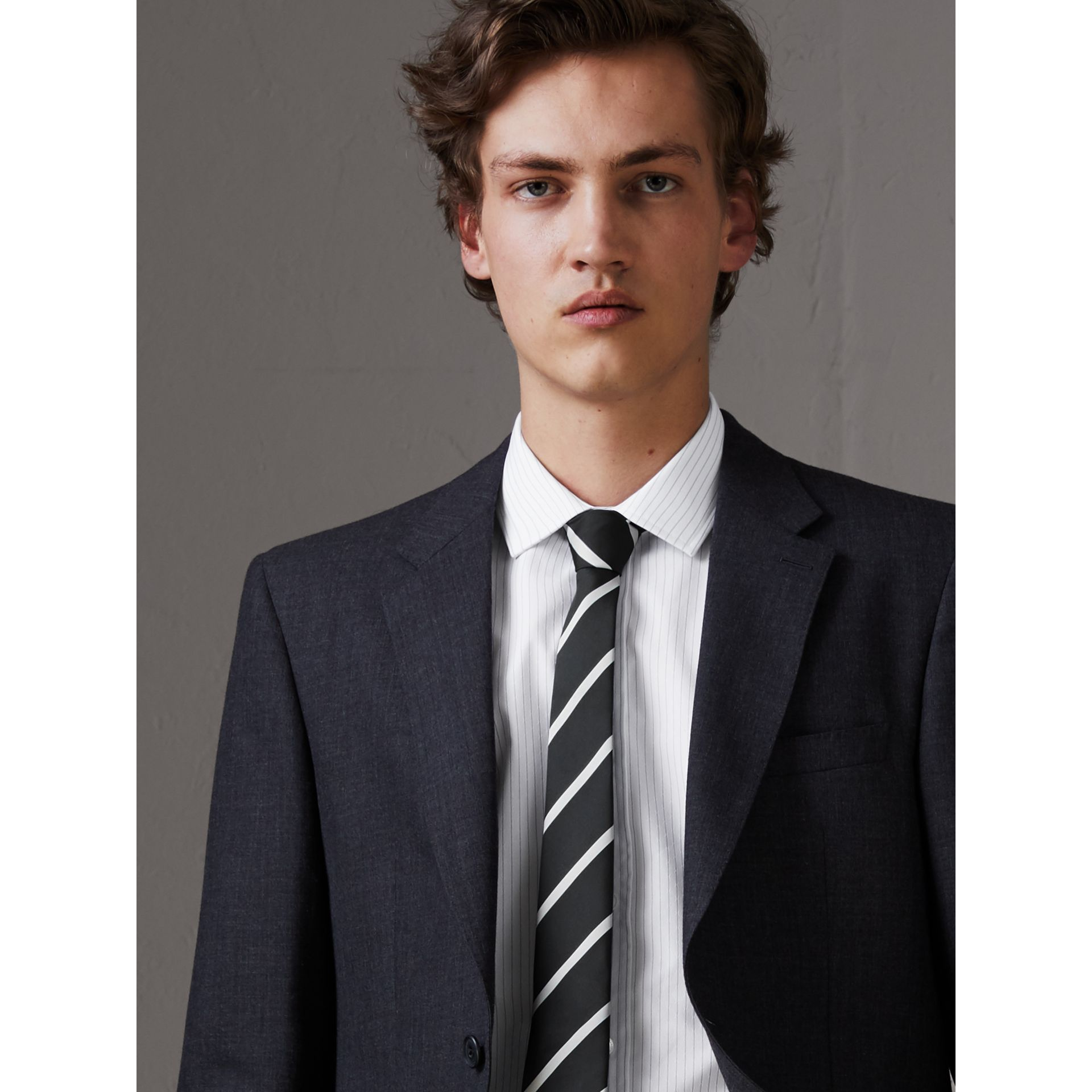 Slim Cut Striped Silk Twill Tie in Black - Men | Burberry - gallery image 2