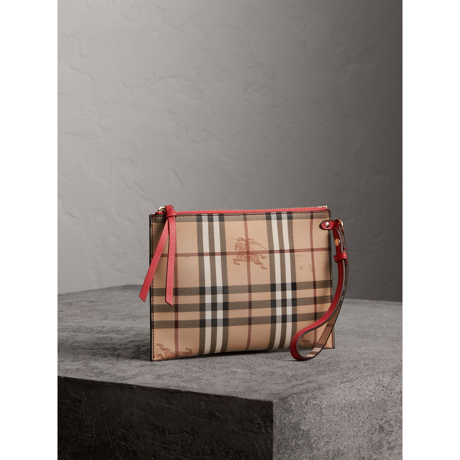 Haymarket Check and Leather Pouch in Coral Red - Women | Burberry - gallery image 5