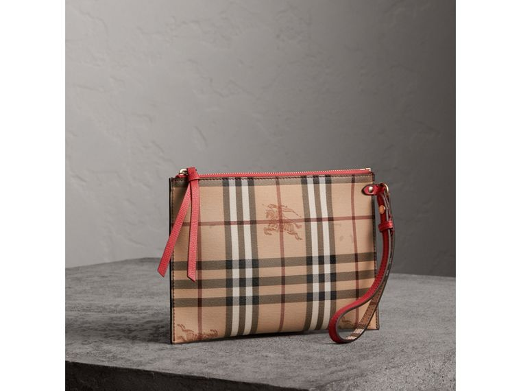 Haymarket Check and Leather Pouch in Coral Red - Women | Burberry Hong Kong - cell image 4