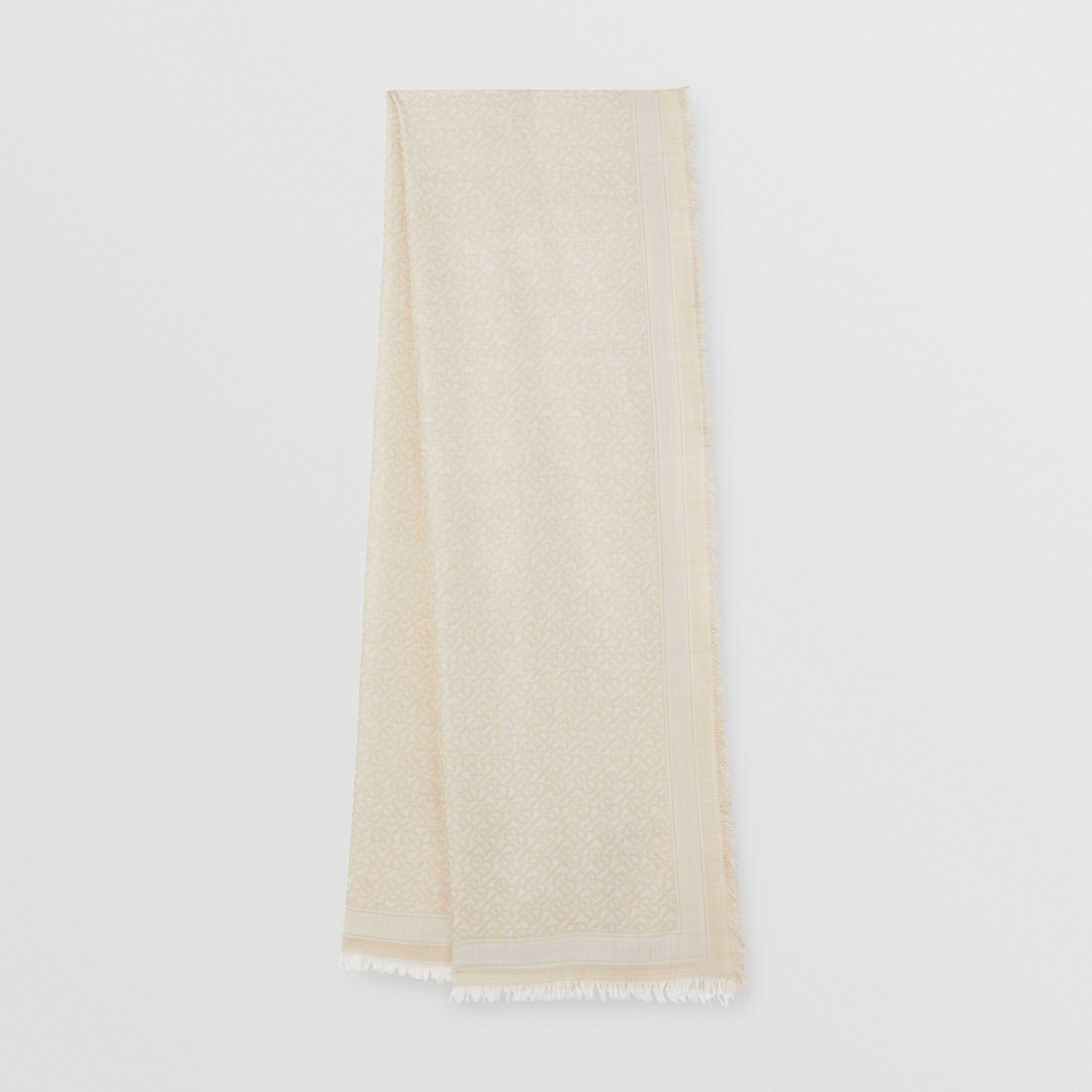 Monogram Wool Silk Jacquard Scarf in Pale Archive Beige | Burberry - 1