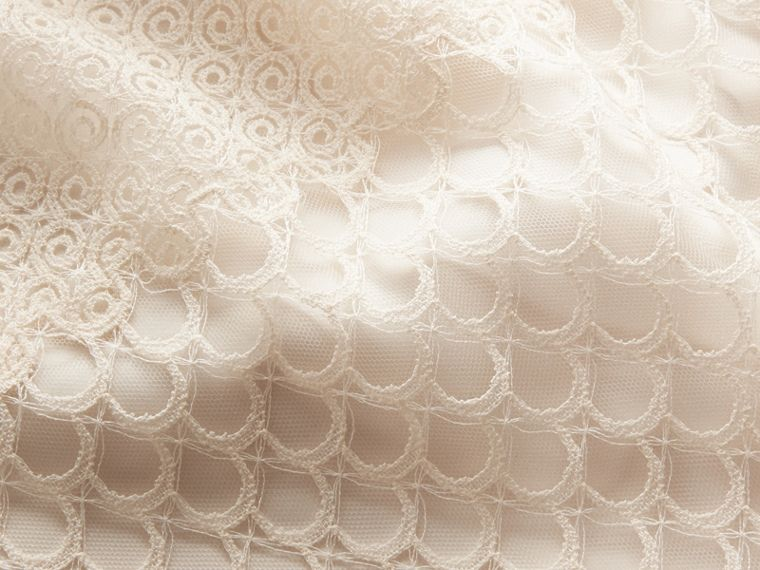 Macramé Lace Peplum Skirt in Natural White - Women | Burberry - cell image 1