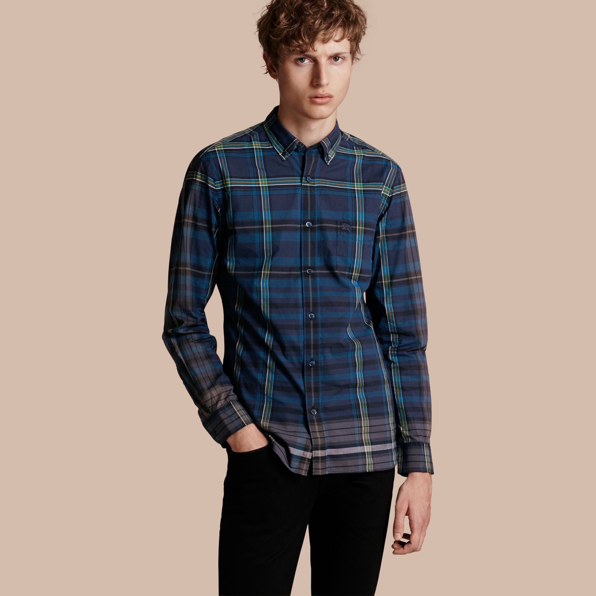Indigo Button-down Collar Check Cotton Shirt Indigo - gallery image 1