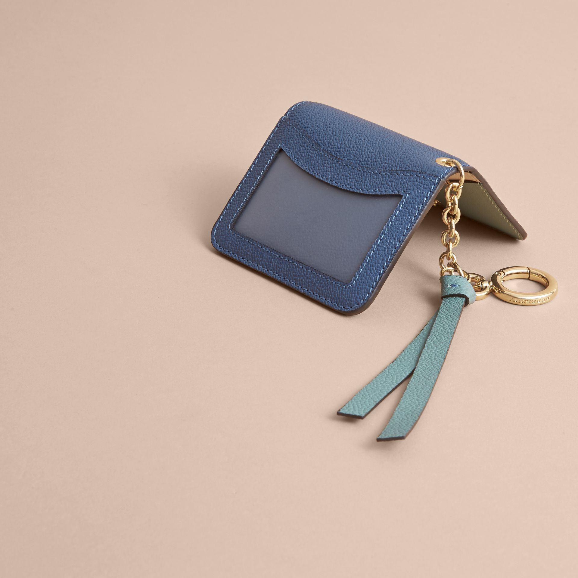 Leather and Haymarket Check ID Card Case Charm in Steel Blue/multi - Women | Burberry - gallery image 3