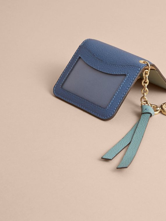 Leather and Haymarket Check ID Card Case Charm in Steel Blue/multi - Women | Burberry - cell image 2