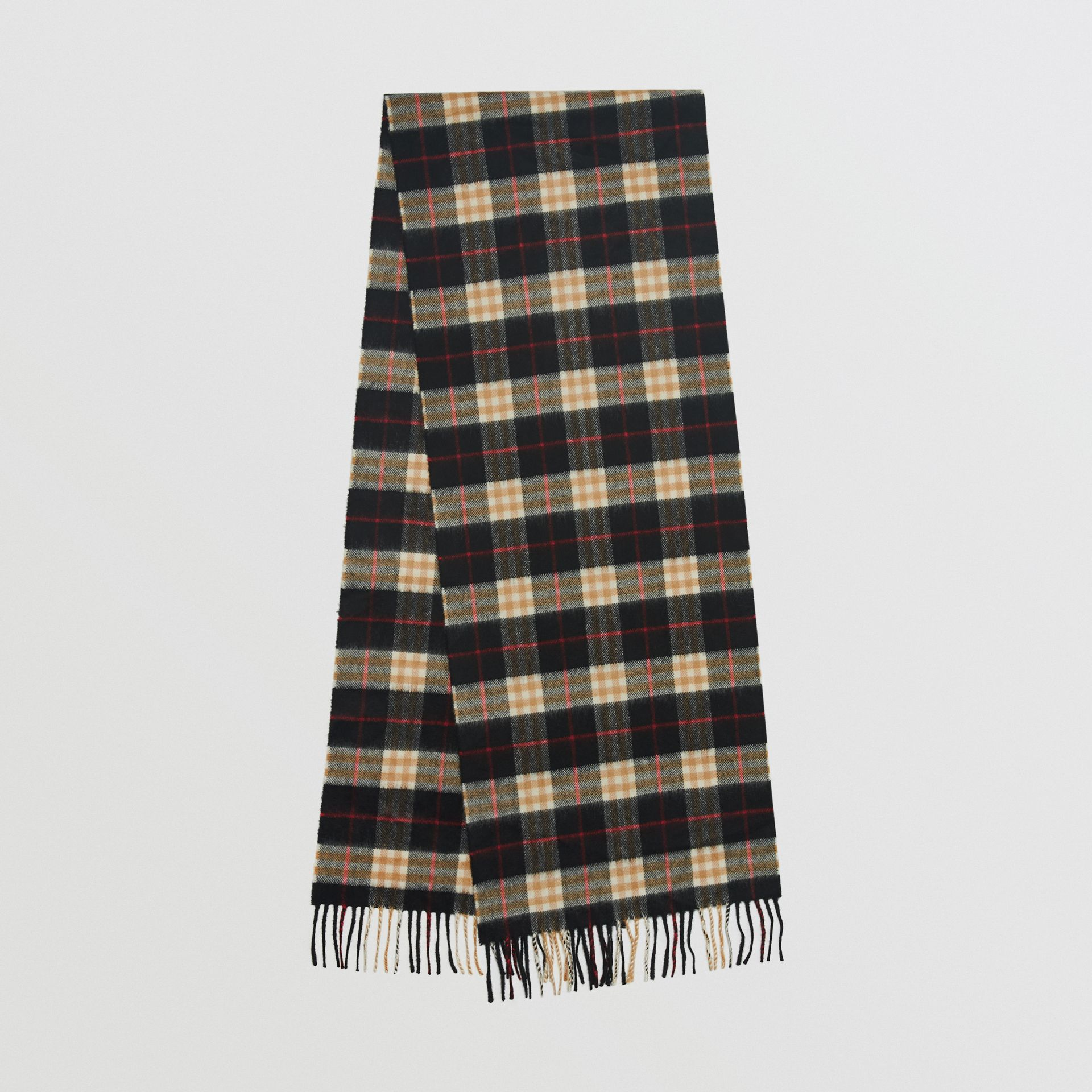 Check Cashmere Scarf in Black | Burberry United Kingdom - gallery image 0
