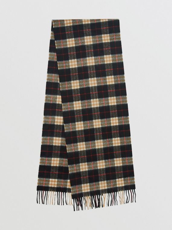 Check Cashmere Scarf in Black