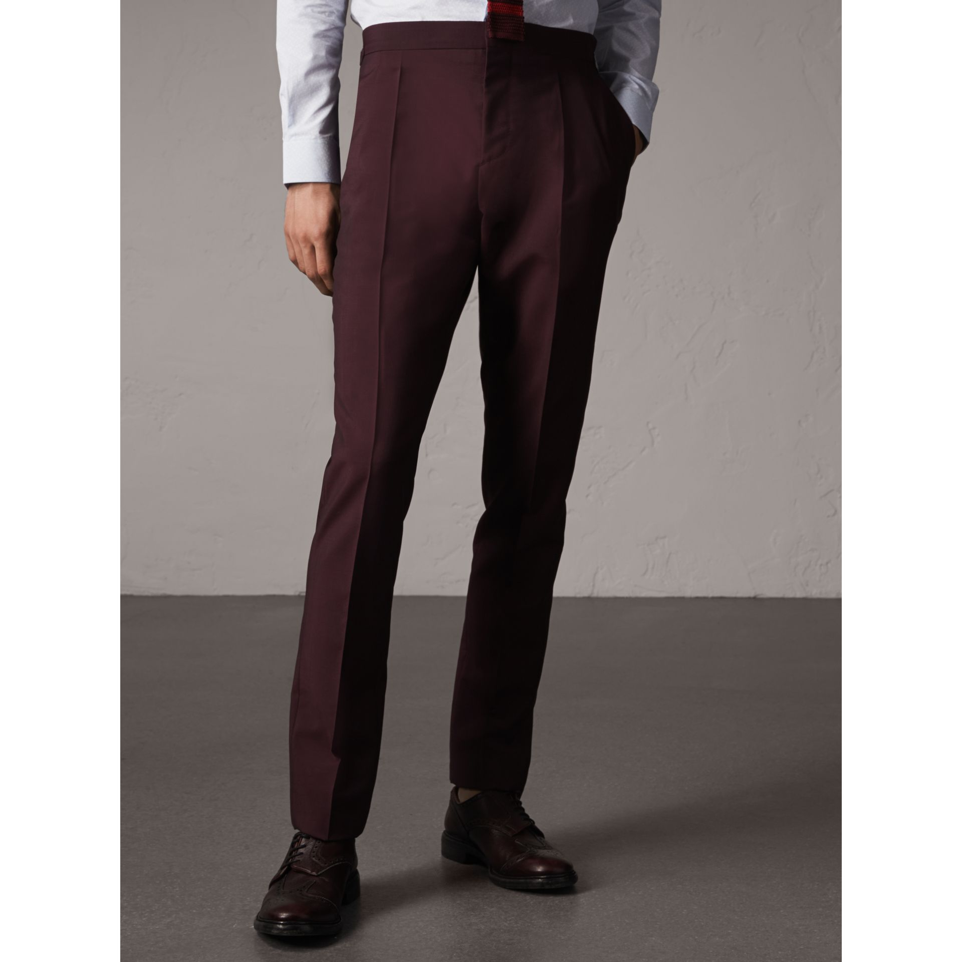 Soho Fit Wool Mohair Suit in Oxblood - Men | Burberry - gallery image 8