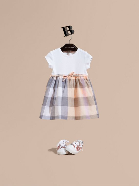 Check Cotton Jersey T-shirt Dress in Apricot | Burberry
