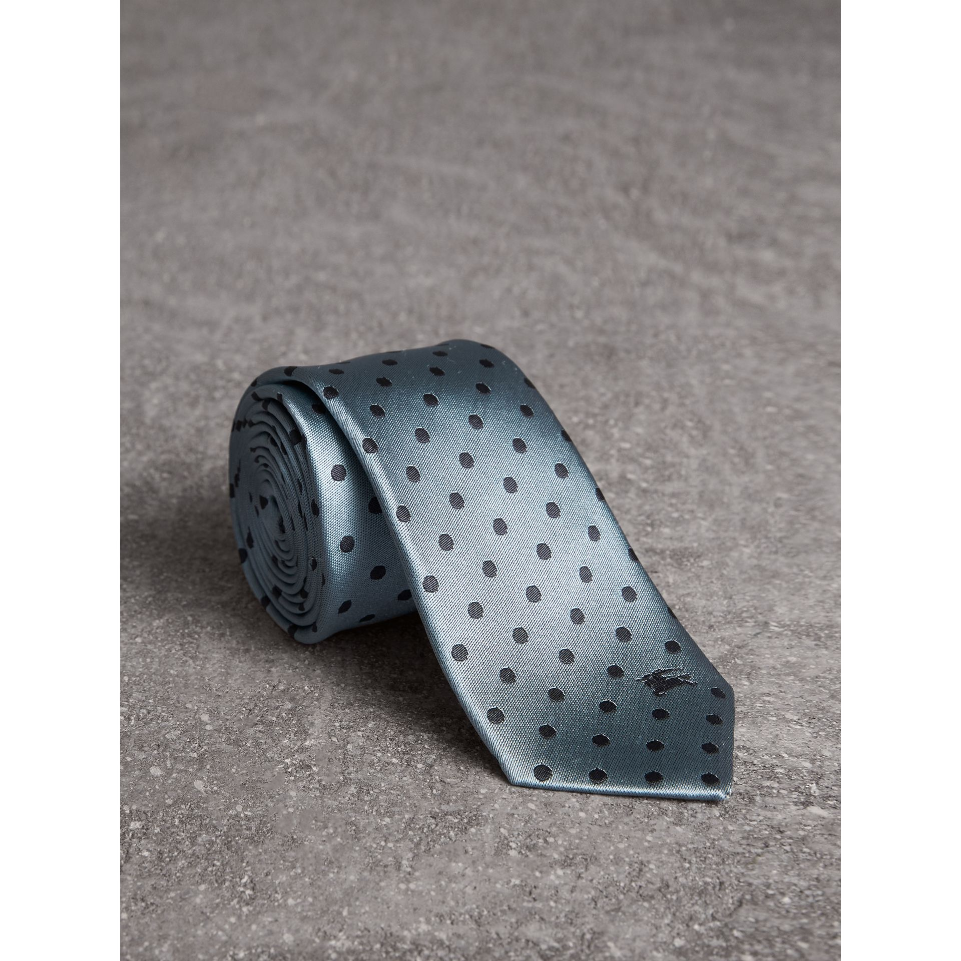 Modern Cut Polka-dot Silk Tie in Light Azure - Men | Burberry Singapore - gallery image 1