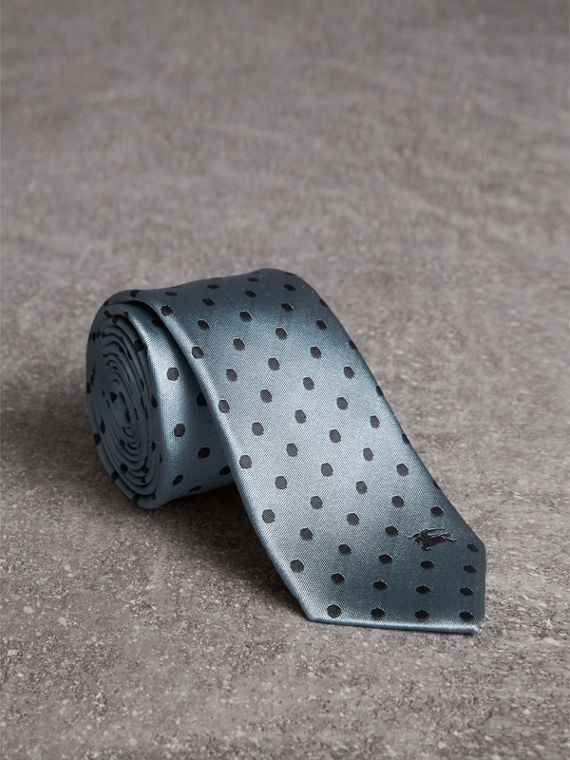 Modern Cut Polka-dot Silk Tie in Light Azure