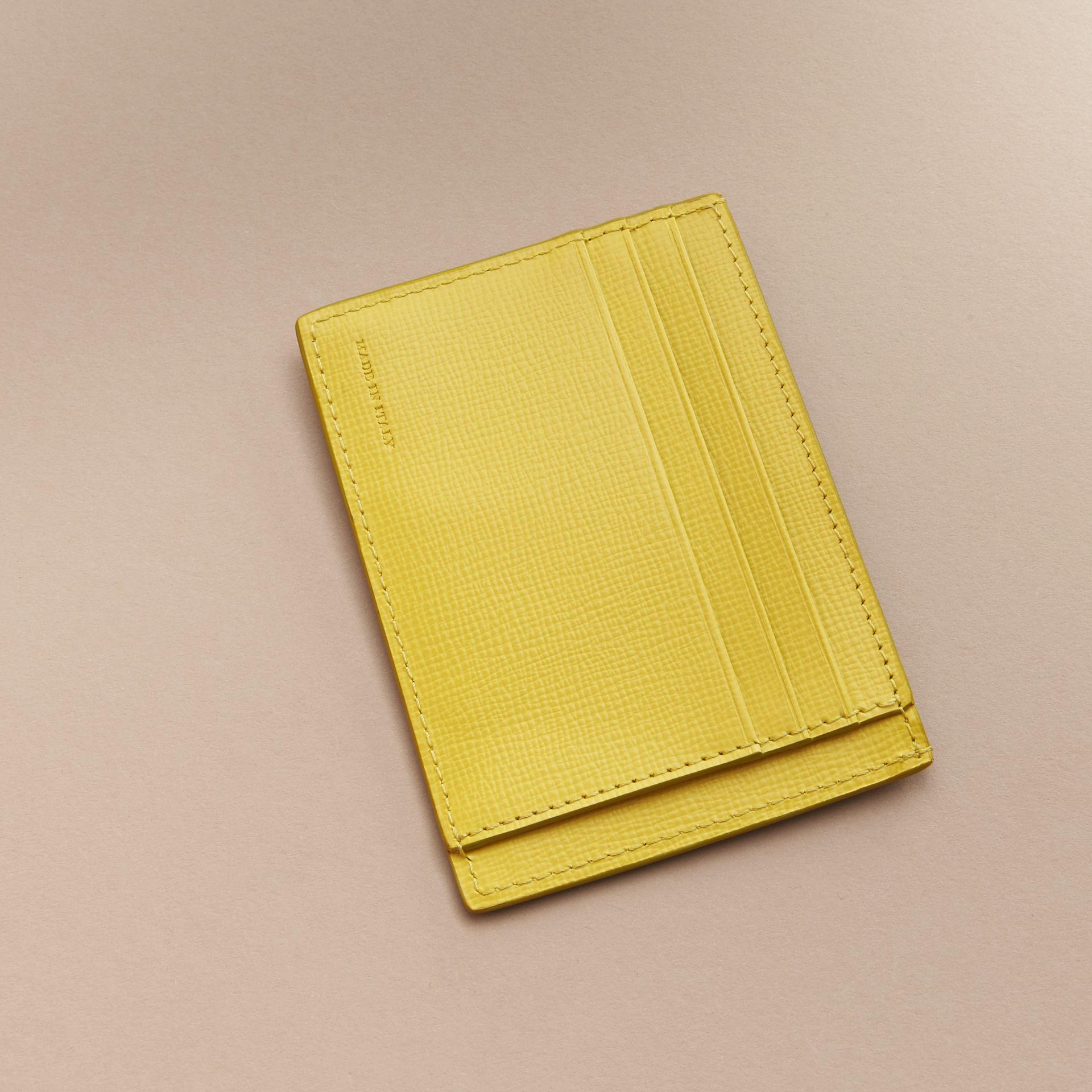 London Leather Card Case in Bright Citrus | Burberry Australia - gallery image 3