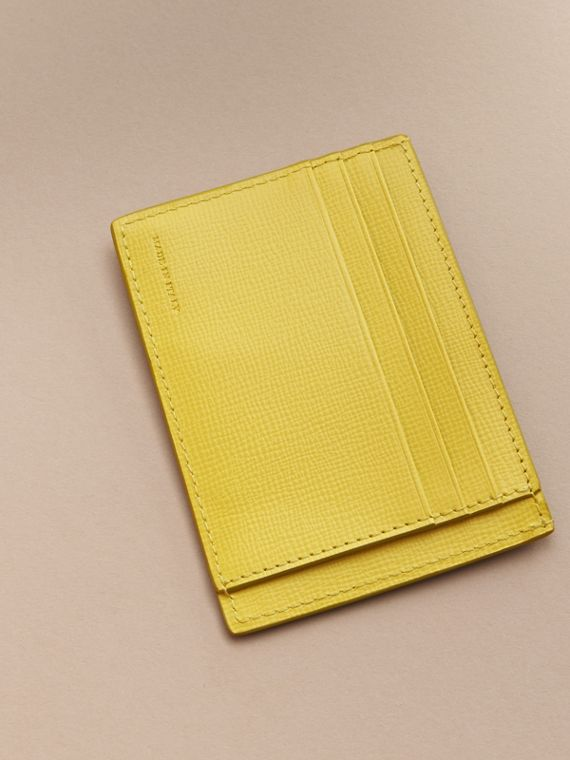London Leather Card Case in Bright Citrus | Burberry Australia - cell image 2