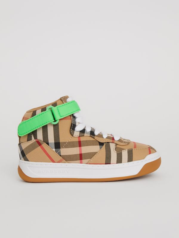 Vintage Check High-top Sneakers in Antique Yellow/neon Green | Burberry - cell image 3