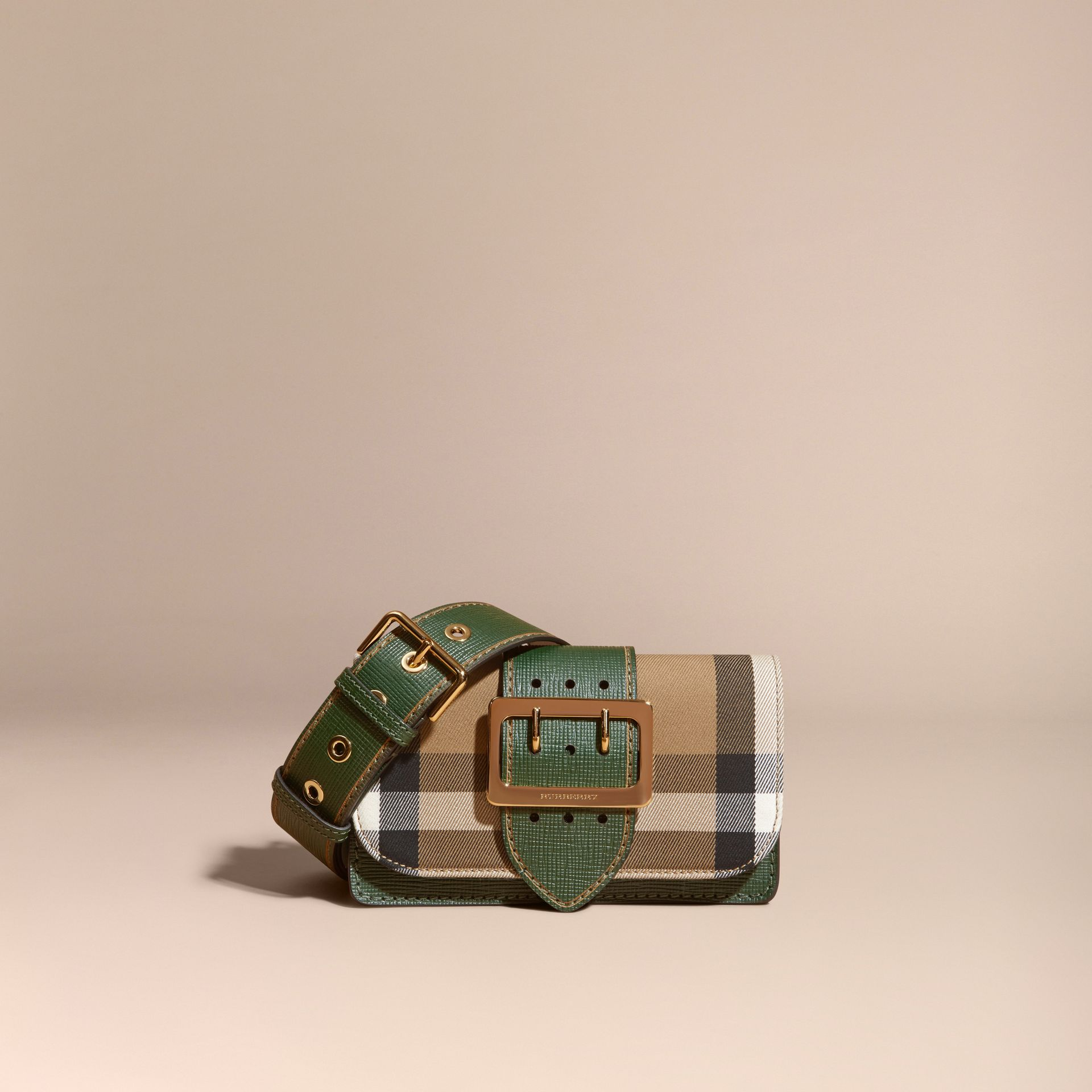 The Small Buckle Bag in House Check and Leather Kelly Green/kelly Green - gallery image 9