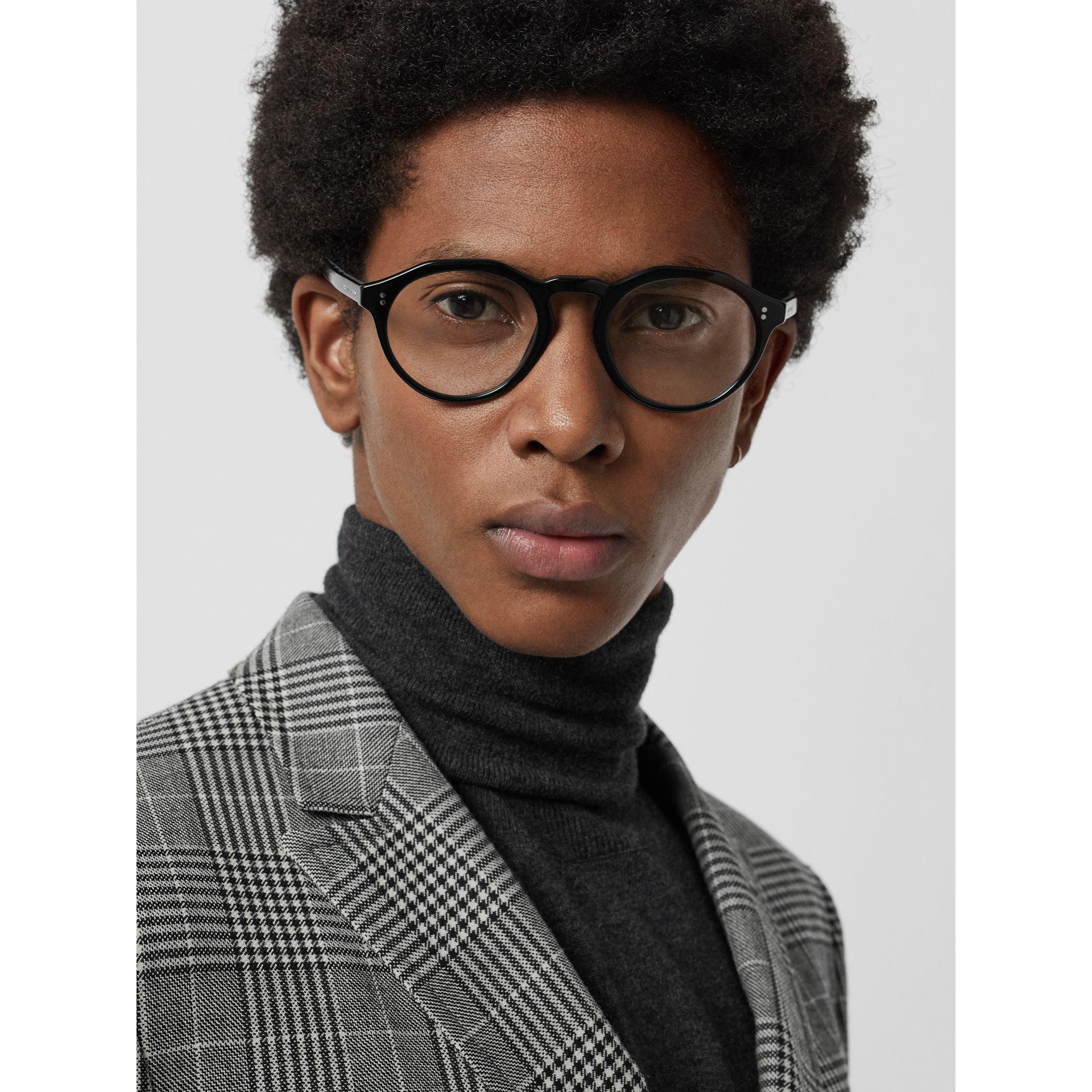 Vintage Check Detail Keyhole Round Optical Frames in Black - Men | Burberry Canada - gallery image 2