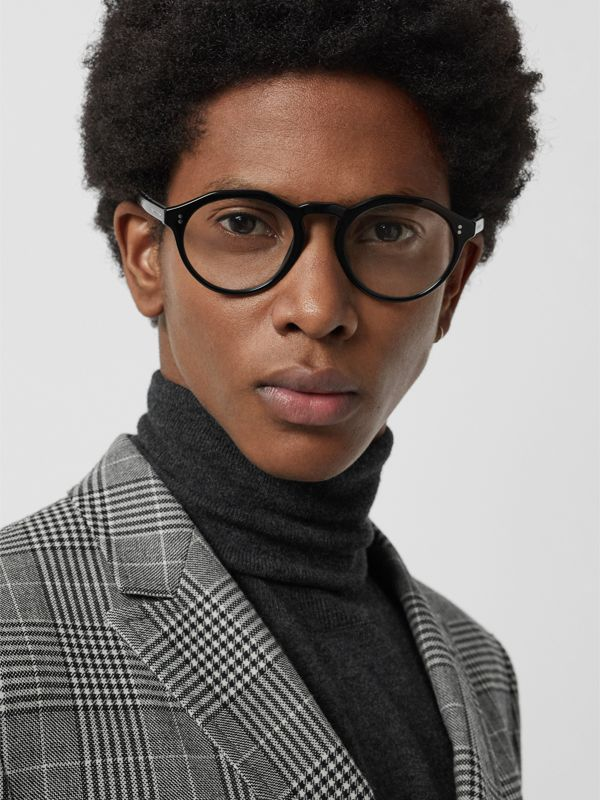Vintage Check Detail Keyhole Round Optical Frames in Black - Men | Burberry Canada - cell image 2