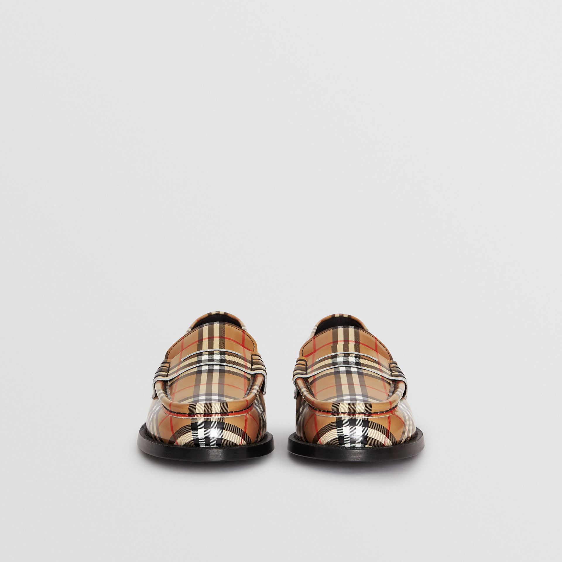 Gosha x Burberry Check Leather Loafers in Antique Yellow - Men | Burberry Australia - gallery image 4