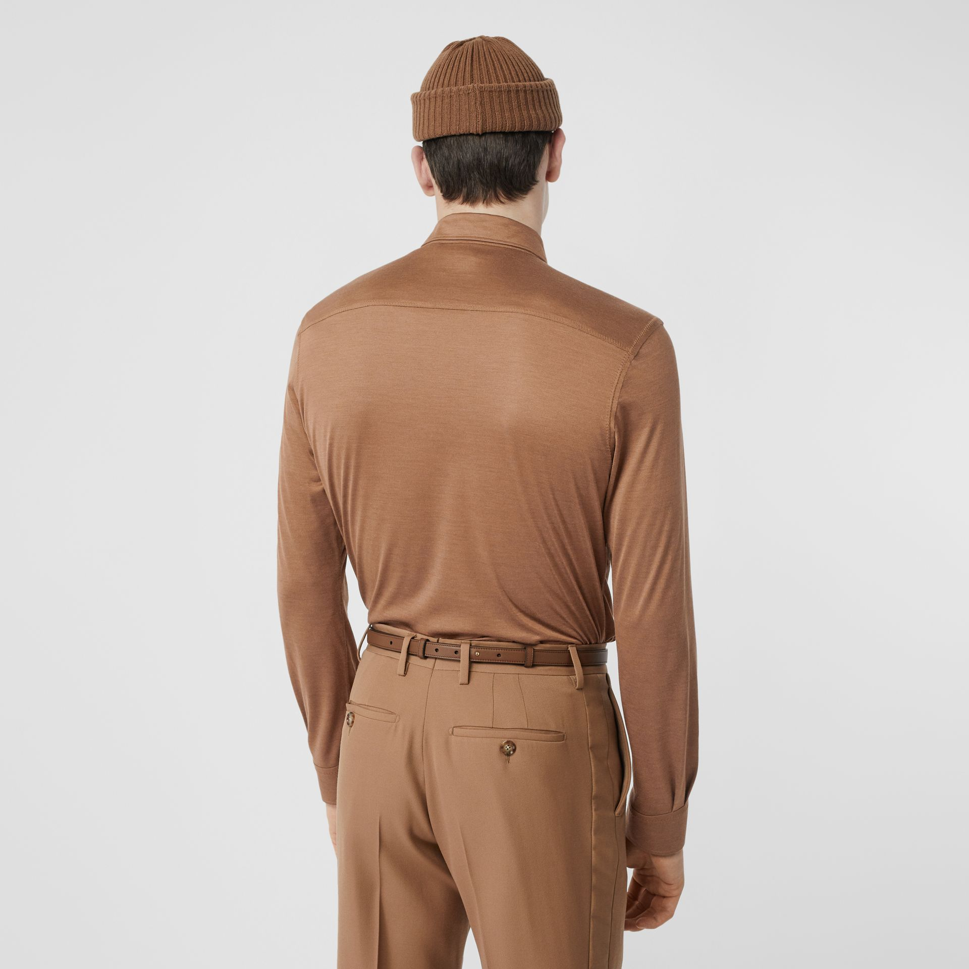 Classic Fit Silk Jersey Shirt in Warm Camel - Men | Burberry - gallery image 2