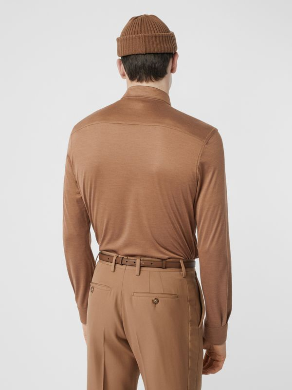 Classic Fit Silk Jersey Shirt in Warm Camel - Men | Burberry - cell image 2