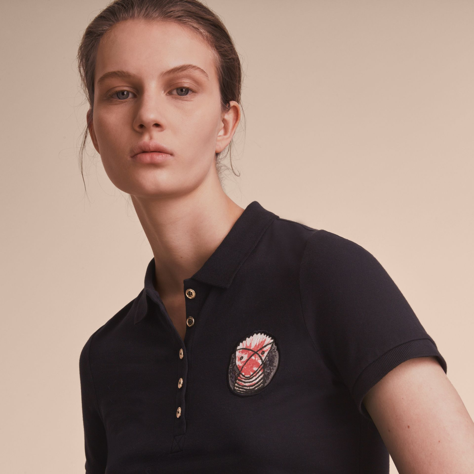 Pallas Heads Appliqué Cotton Piqué Polo Shirt Black - gallery image 5