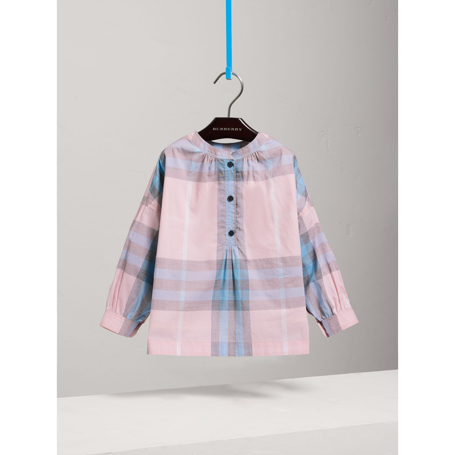 Gathered Check Cotton Shirt in Ice Pink - Girl | Burberry - gallery image 0