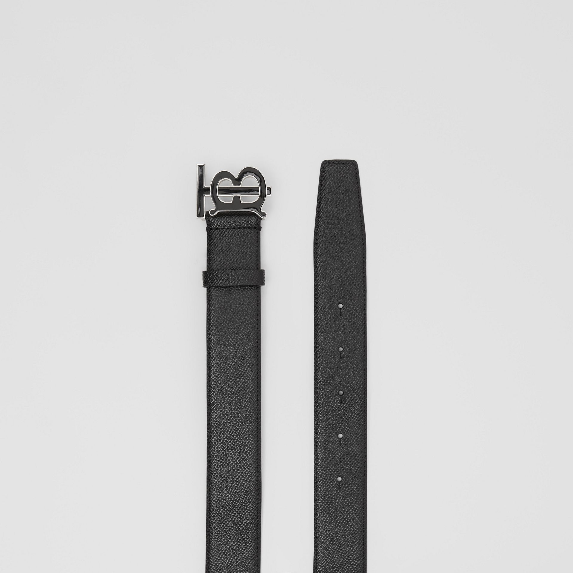 Monogram Motif Grainy Leather Belt in Black - Men | Burberry Singapore - gallery image 5