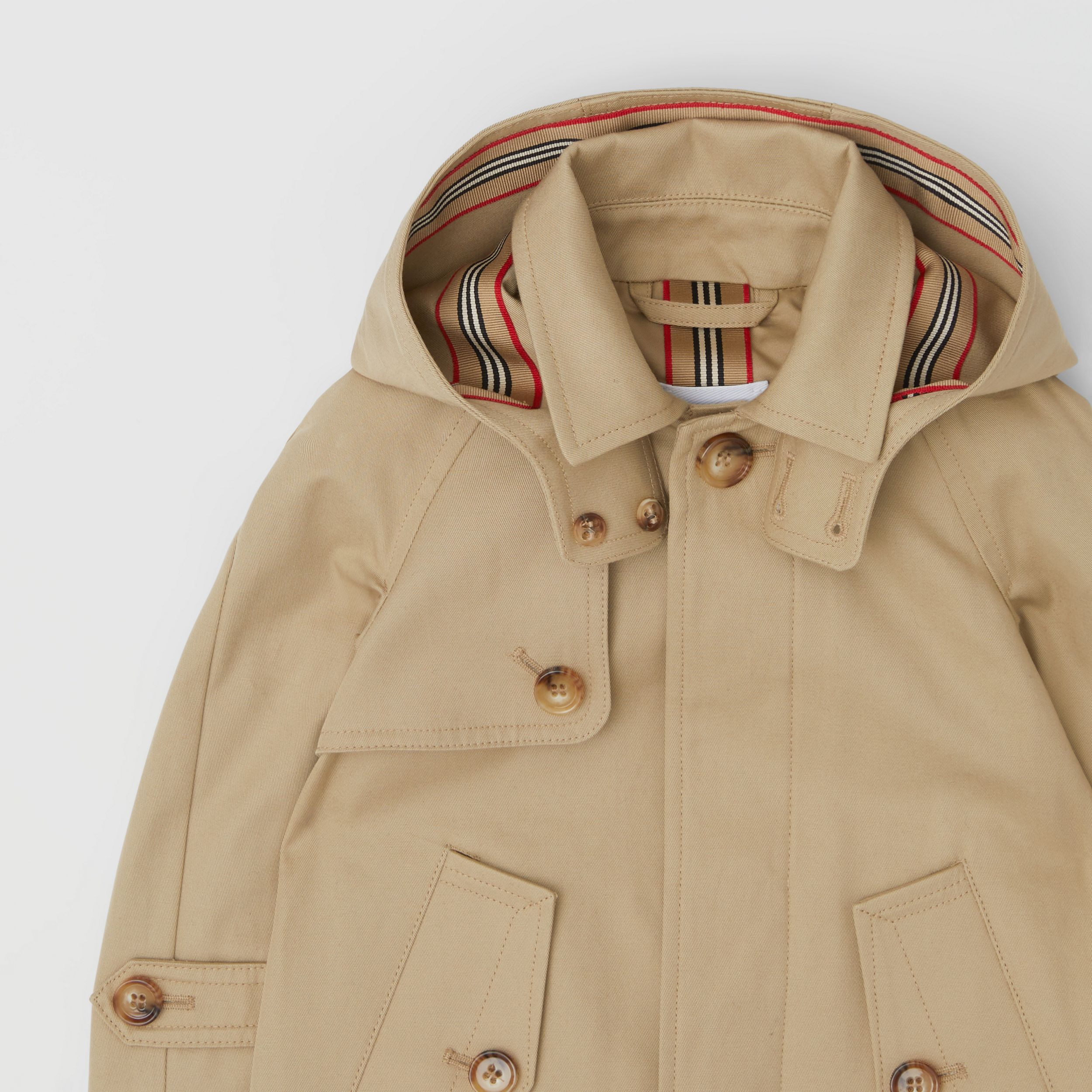 Detachable Hood Icon Stripe Trim Cotton Car Coat in Honey - Children | Burberry - 4