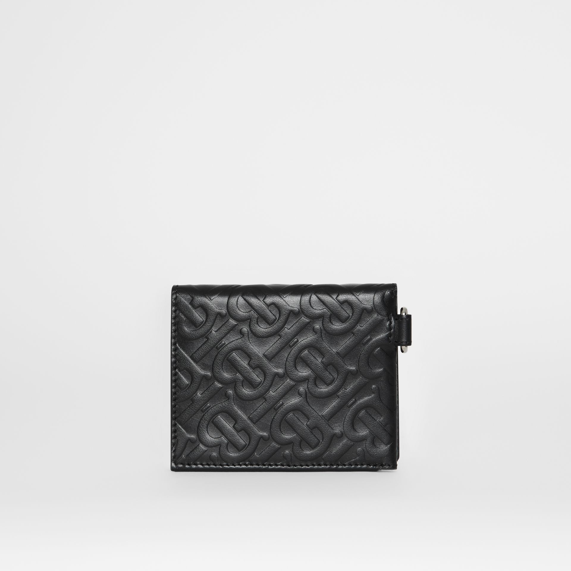 Monogram Embossed Leather Trifold Wallet in Black - Men | Burberry Australia - gallery image 4