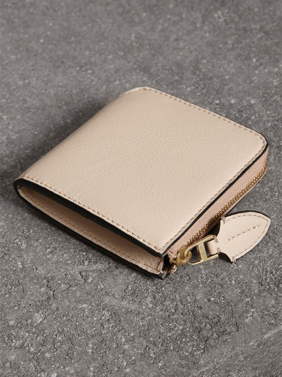 Grainy Leather Square Ziparound Wallet in Limestone - Women | Burberry - cell image 2