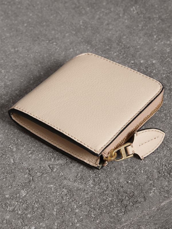 Grainy Leather Square Ziparound Wallet in Limestone - Women | Burberry Australia - cell image 2