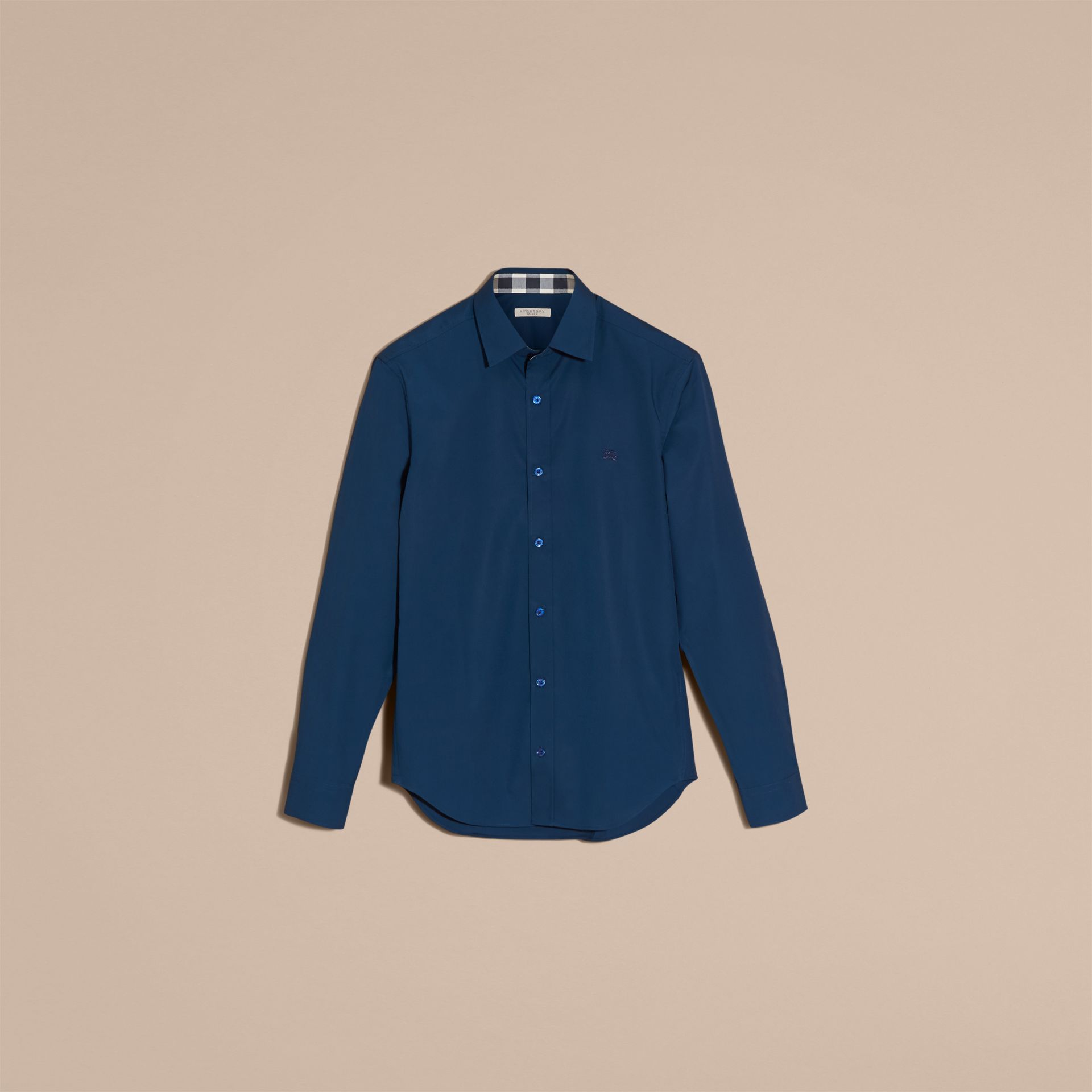 Check Detail Stretch Cotton Poplin Shirt in Deep Teal Blue - Men | Burberry - gallery image 4