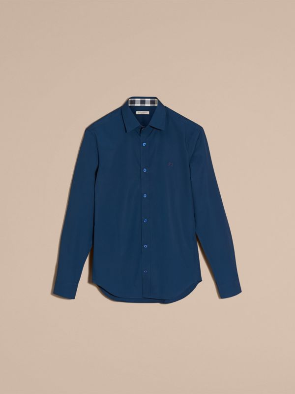 Check Detail Stretch Cotton Poplin Shirt in Deep Teal Blue - Men | Burberry - cell image 3