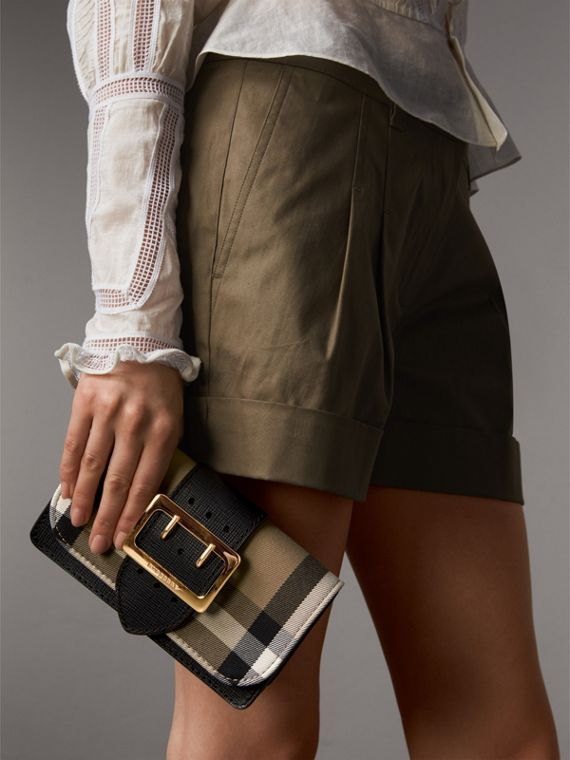 The Small Buckle Bag in House Check and Leather in Black - Women | Burberry - cell image 3