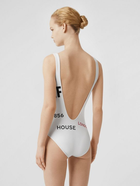 Horseferry Print Swimsuit in White - Women | Burberry - cell image 1