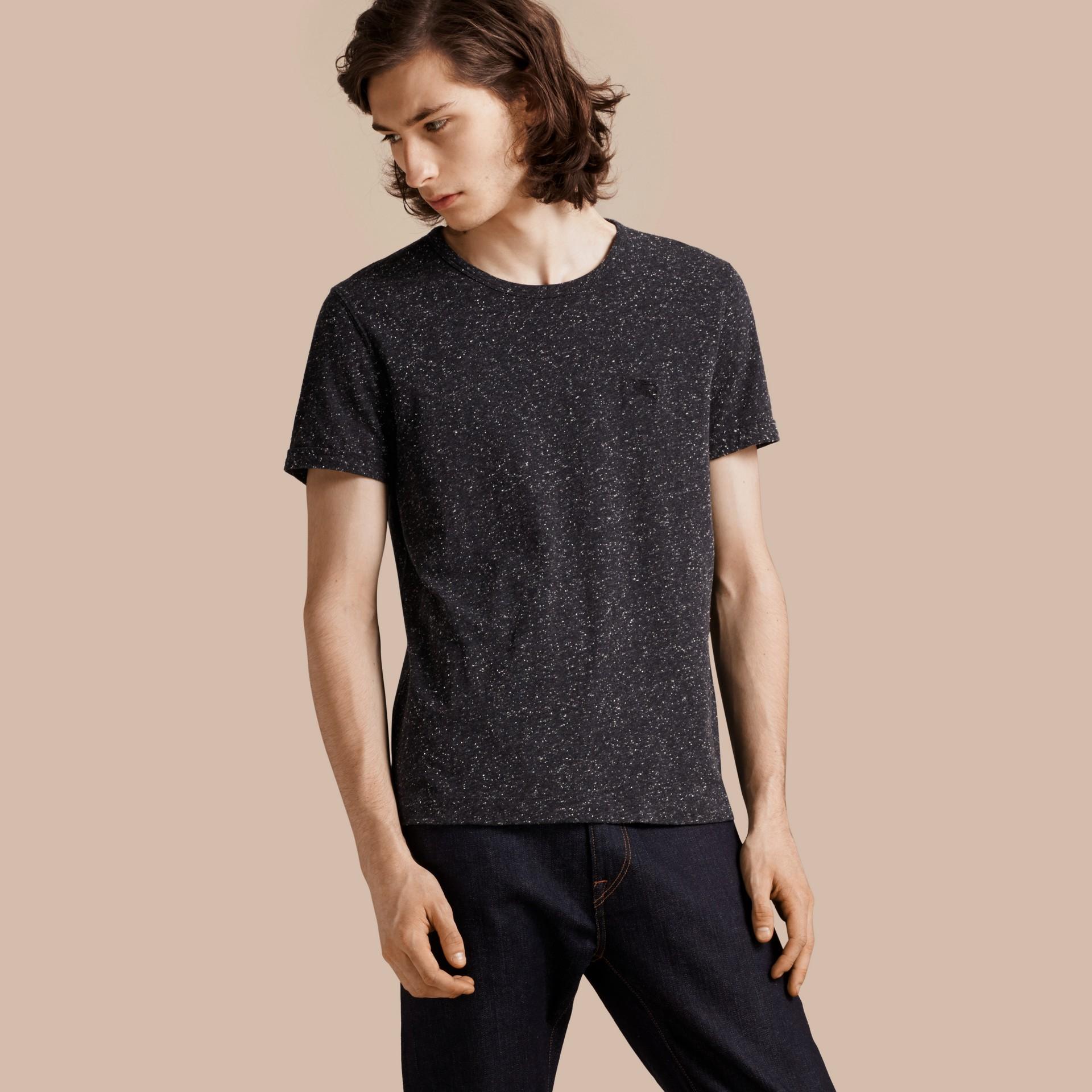 Black Crew Neck Flecked Cotton Jersey T-Shirt Black - gallery image 1
