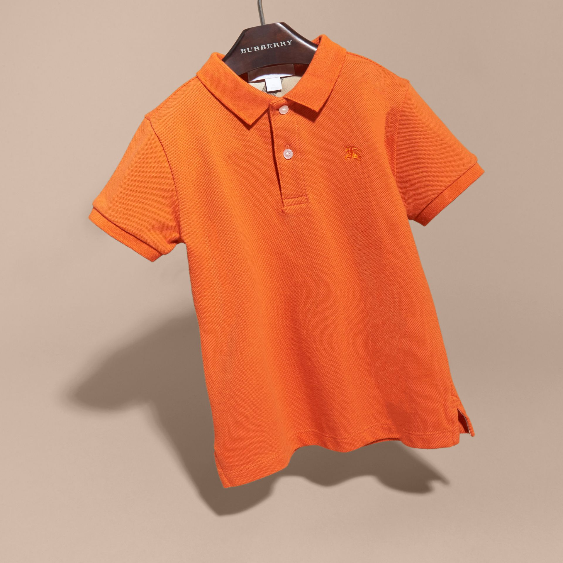 Check Placket Polo Shirt in Clementine | Burberry - gallery image 3