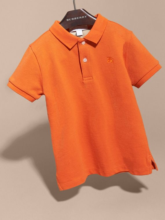 Check Placket Polo Shirt in Clementine | Burberry - cell image 2