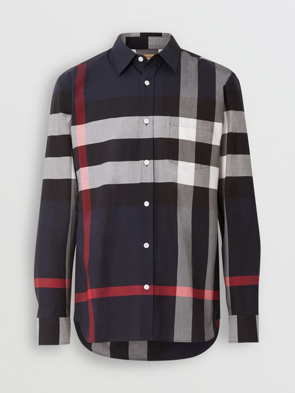 Check Stretch Cotton Shirt in Navy - Men | Burberry Singapore - cell image 3