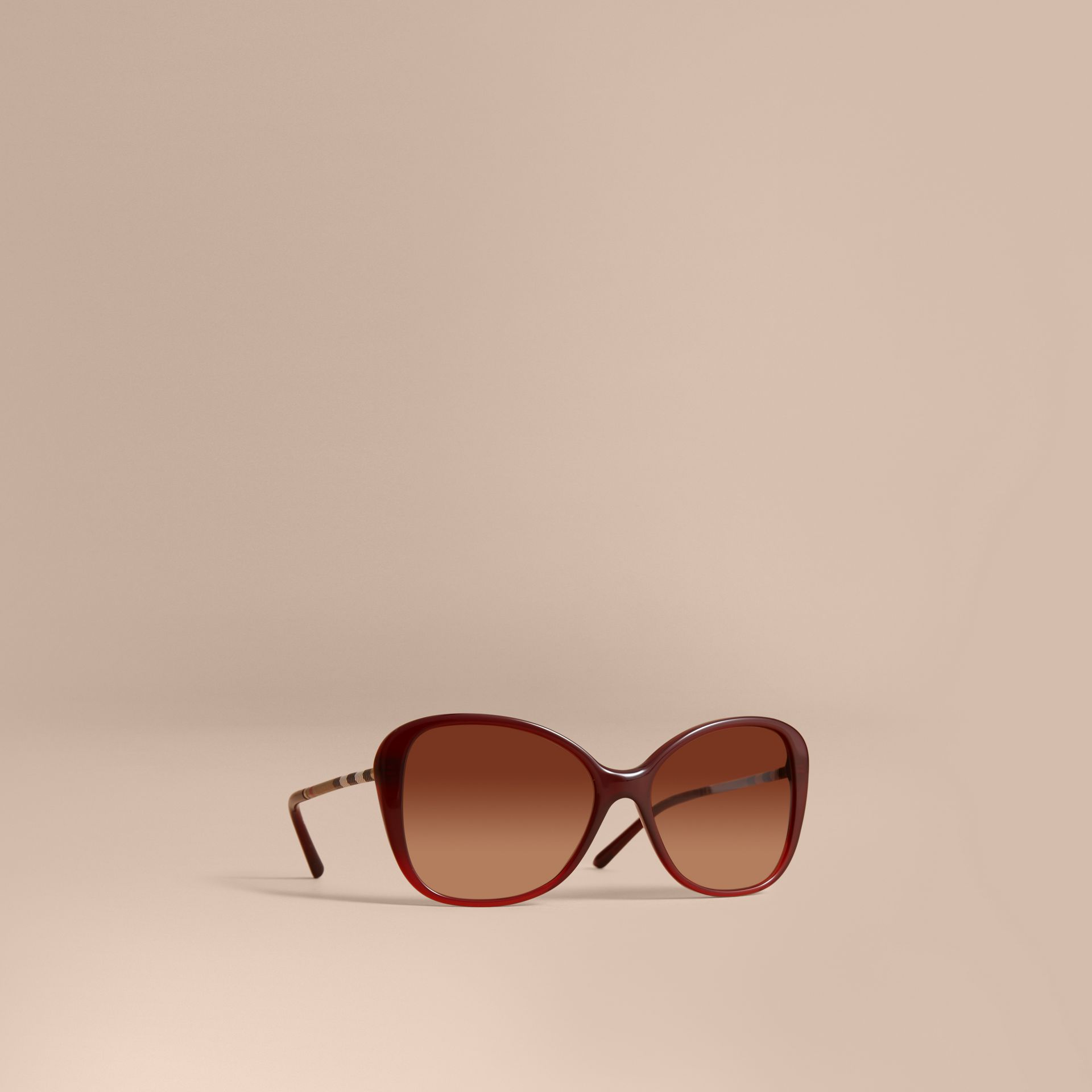 Check Detail Butterfly Frame Sunglasses Oxblood - gallery image 1