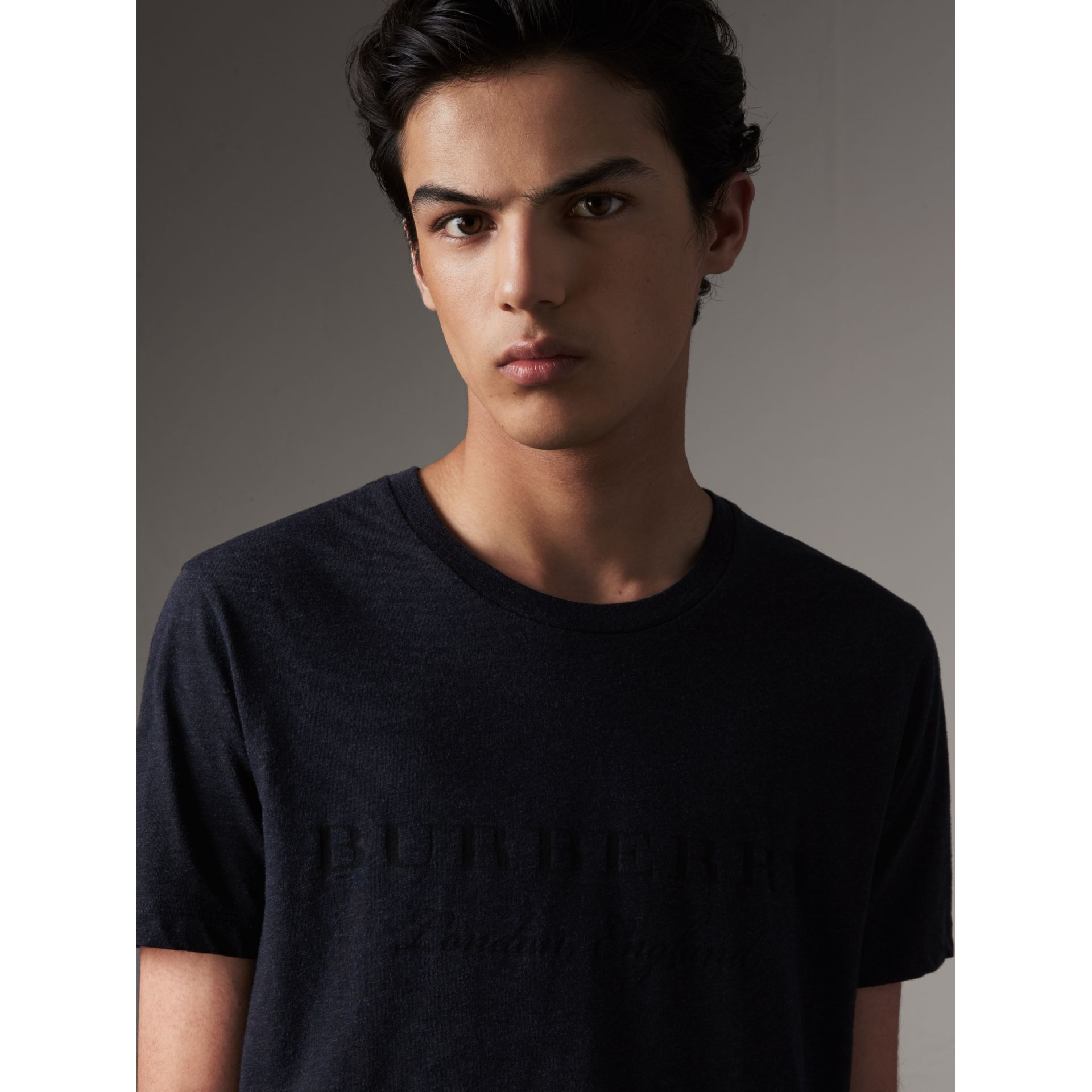 Devoré Cotton Jersey T-shirt in Navy Melange - Men | Burberry - gallery image 2