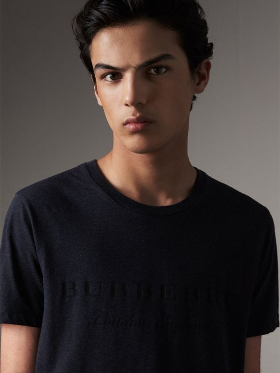 Devoré Cotton Jersey T-shirt in Navy Melange - Men | Burberry Canada
